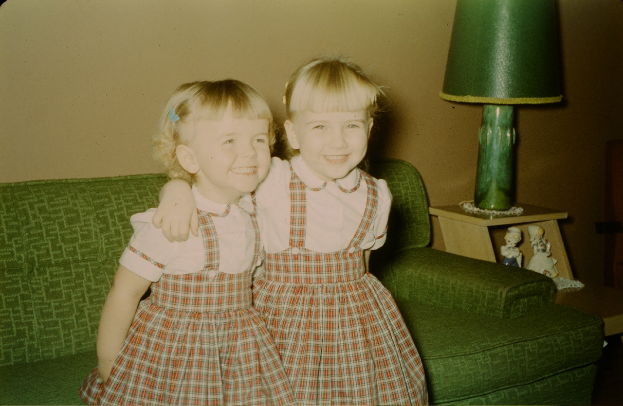 me & Debbie, matching dresses & smiles, late 50s